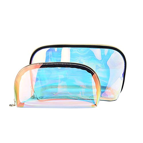 2 PCS Bolsas de Maquillaje Bolsa de cosméticos Transparente Iridiscente Pequeña Bolsa de Aseo con Cremallera para Mujeres y niñas