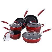 10-Piece Momscook Hard Enamel Aluminum Cookware Set (3 color options)
