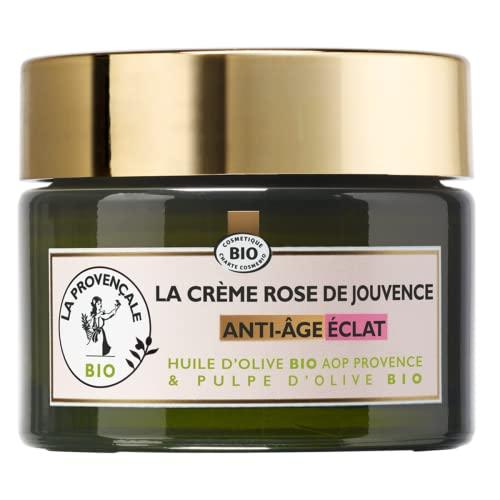 La Provençale Bio - Crème Rose de Jouvence Anti-Âge Éclat Certifié Bio - Huile d'Olive Bio AOP Provence - Pour Tous Types de Peau Même les Plus Sensibles - 50 ml