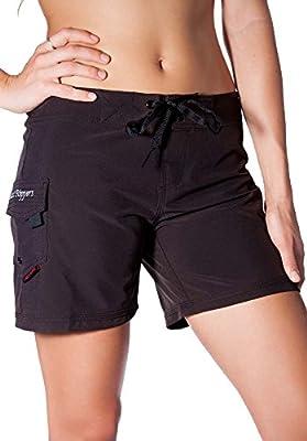 "Maui Rippers Women's 4-Way Stretch 5"" Swim Shorts Boardshorts (14, Black)"