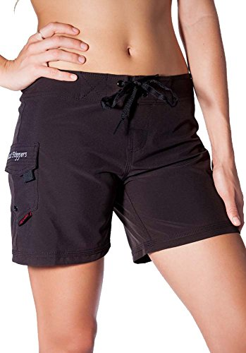 "Maui Rippers Women's 4-Way Stretch 5"" Swim Shorts Boardshorts (02, Black)"