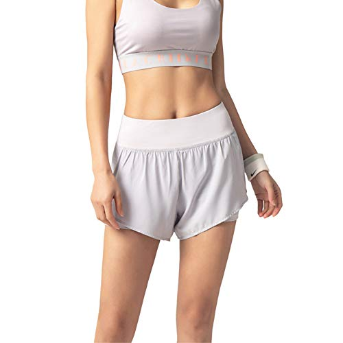 Women Loose Sports Casual Quick-Drying Breathable Solid Color Elastic High Waist Two-Layer Yoga Shorts (Light Grey, M)