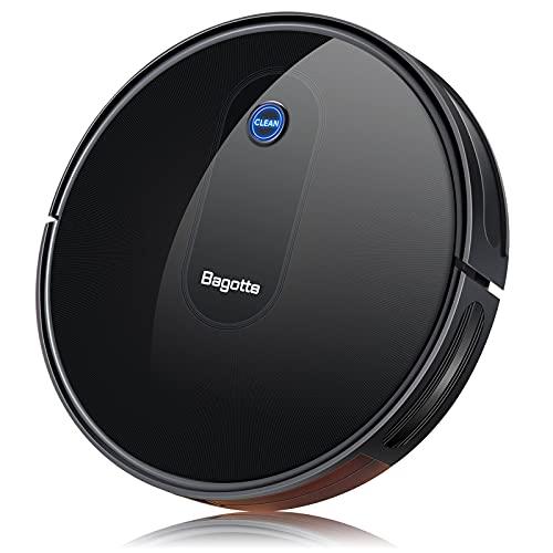Bagotte BG600 Robot Vacuum Cleaner, Super-Thin & Quiet, High Suction, Smart Self-Charging Robotic Vacuum Cleaners Automatic Sweeper for Pet Hairs, Hard Floor, Medium Carpet