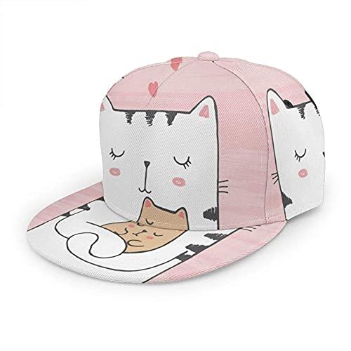 Sombrero de Gato Gorra de béisbol Animal Kitty Love Hearts Día de la Madre Meow Dream Pet Pink Sombreros Planos Ajustables Snapback Sombrero de Bola Sombrero Deportivo para Hombres y Mujeres