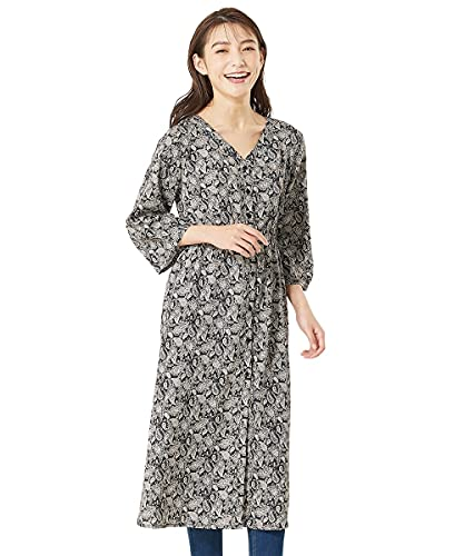 [nissen(ニッセン)] ワンピース・ドレス 幾何学柄 ワンピース 大きいサイズ ペイズリー柄シフォンガウン(スパイラルガール+) 黒系 10L