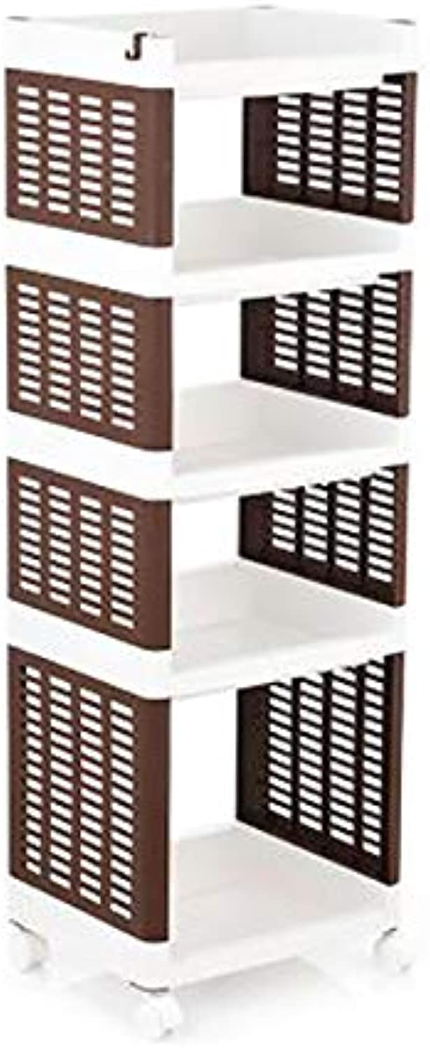 Plastic Kitchen Shelving Floor Multi-Layer Space-Saving Fruit and Vegetable Storage Basket Finishing Rack -by TIANTA (color   Brown(5 Layers))