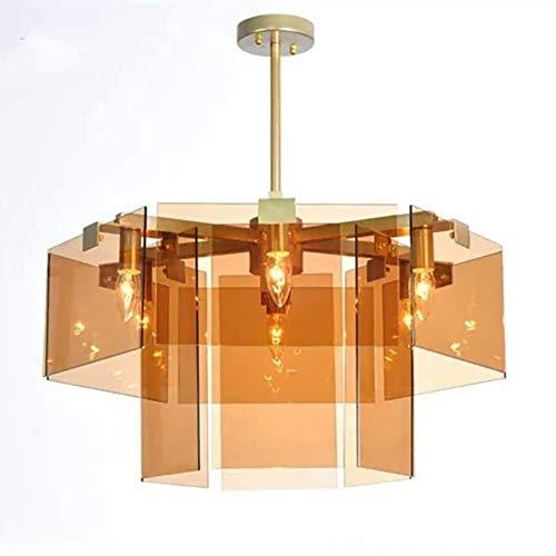 Plafondlamp 6 Licht Glas Plafond Kroonluchter, Moderne Hanglamp voor Woonkamer Slaapkamer Restaurant Bar, D60cm×H30cm