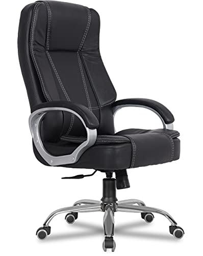 Green Soul Vienna High Back Full Back Leatherette Executive Office Ergonomic Chair with Multi Color Options (Black)