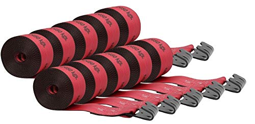 Mytee Products Kinedyne Winch Straps 4' x 30' Red Heavy Duty Tie Down with Flat Hooks WLL# 5400 lbs | 4 Inch Cargo Control for Flatbed Truck Utility Trailer (10 Pack)