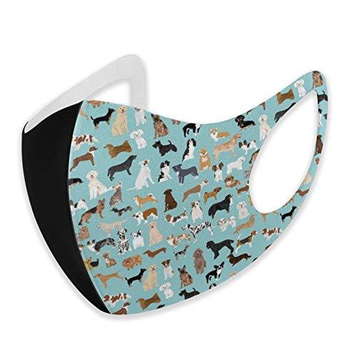 Pañuelos unisex para perros con razas de perros, color azul claro