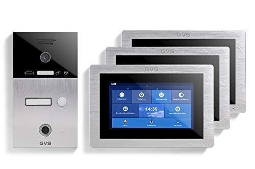 GVS AVS5104A - Videoportero de 4 cables/IP, IP65, RFID, Fingerprint, monitor de 3 x 7 pulgadas, aplicación, cámara HD 120°, apertura de puerta, 32 GB de memoria, conmutador PoE, 1 juego familiar
