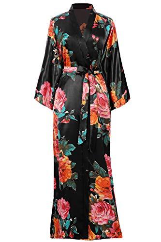 Coucoland Bata de verano para mujer, con estampado de flores, albornoz largo, kimono, bata de noche para mujer Negro Talla única