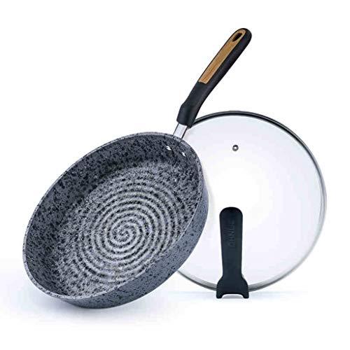 Poêle à frire en pierre avec couvercle en verre Poêle antiadhésive avec revêtement en pierre non toxique Poêle en pierre Steak à oeuf Poêle Cuisinière à induction Poêle à gaz Universel