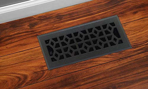Accord AMFRPWM410 Floor Register with Marquis Design, 4-Inch x 10-Inch(Duct Opening Measurements), Cast Iron Pewter