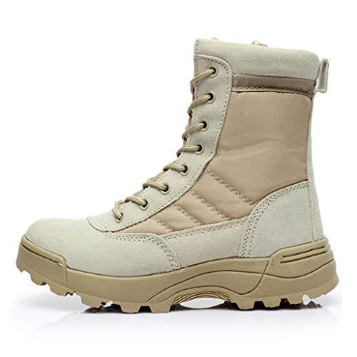 YU-M Botines Tácticos  Botas Altas Militares con Cordones y Cordones para Hombre  Zapatos de Tobillo de Seguridad para Caminar al Aire Libre 9 10 11,Khaki-8.5 UK