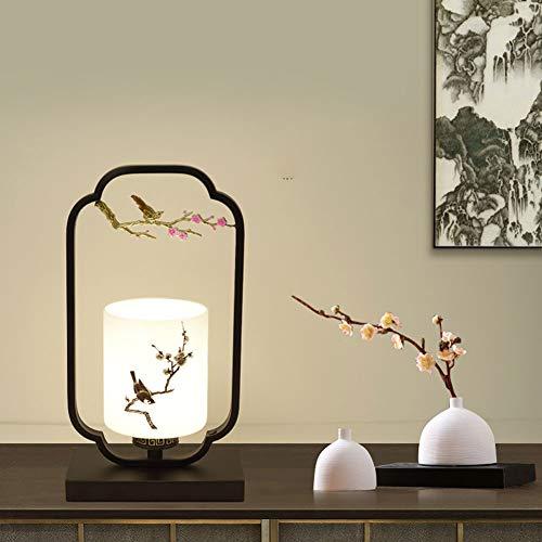 GUOGEGE Lampe De Table Chinoise Lampe De Chevet pour La Chambre À Coucher, Lampe pour La Décoration du Salon Abat-Jour en Verre Épaissi