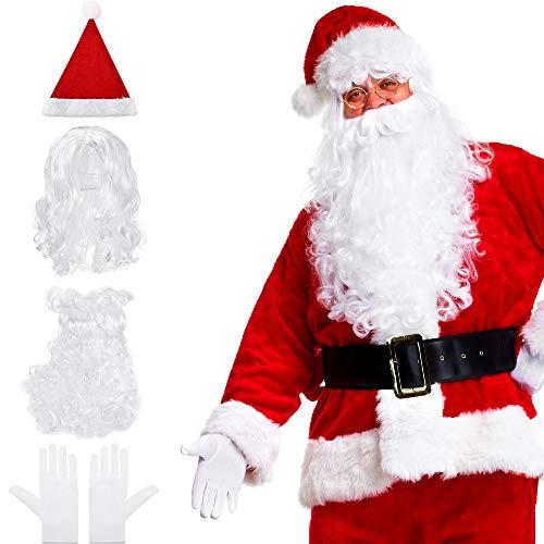 Set of 4, Santa Wig and Beard Hat White Gloves Set Christmas Fancy Dress Costume