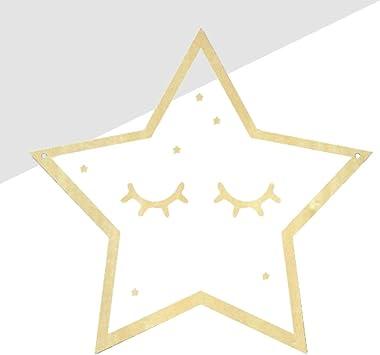 VOSAREA 1 pc Mur Miroir Étoile à Cinq Branches Cadre en Bois Miroir Suspendu Dessin Animé Miroir pour Chambre Salle De Bains