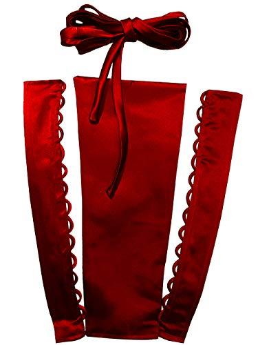 YCShun Damen-Hochzeitskleid mit Reißverschluss, verstellbare Passform, Satin-Korsett hinten zum Schnüren für Ballkleid -  Rot -  56 cm