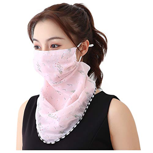 riou Damen Mundschutz Halstuch Multifunktionstuch Sommer UV-Schutz Atmungsakti Chiffon Tuch Schlauchtuch