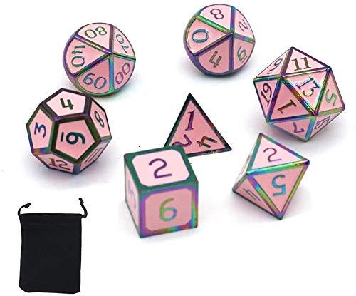 DollaTek 7Pcs Set di Dadi in Metallo Solido DND Gioco di Dadi D&D in Metallo Solido con Custodia e Lega di Zinco con Smalto per Giochi di Ruolo Sotterranei e Draghi(Double Color Mix Red And Green)