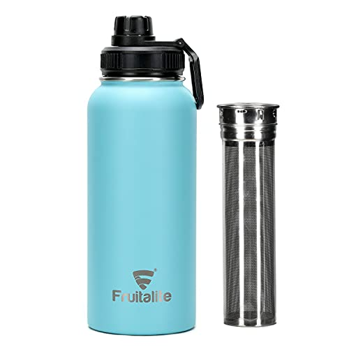 Fruitalite Thermos/Stainless Steel Fruit Infuser Water Bottle- 1000ml with Screw/Spout Lid, Steel Infusion Rod, Infused Detox Recipe eBook, Double-Wall Vacuum Insulated Bottle- Mint/Teal