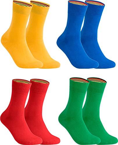 gigando – Socken Herren Baumwolle Uni Farben 4er oder 8er Pack in Premiumqualität – bunt farbige Strümpfe für Anzug, Business, Freizeit – ohne Naht - in gelb, grün, rot, blau Größe 43-46