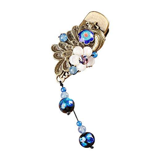 Jiu Bu Klassisch, Haarspangen Für Frauen, Glas, Cloisonne, Schale, Haarschmuck, Mehrfarbig, 6 Cm,Multi-colored-One