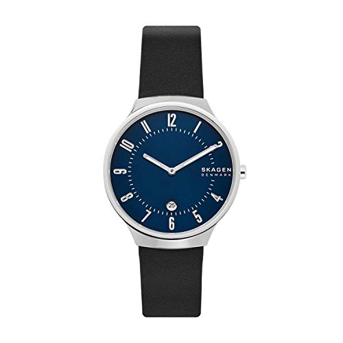 Skagen Men's Grenen Quartz Analog Stainless Steel and Leather Watch, Color: Black (Model: SKW6548)