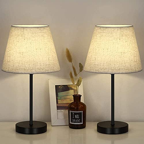 LIANTRAL Lámpara de mesa LED, base de metal y pantalla de lino, E27, lámpara de mesa moderna con interruptor, juego de 2 unidades