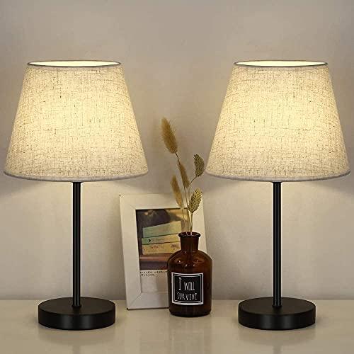 LIANTRAL Lámpara de mesa LED, base de metal y pantalla de lino, E27, lámpara de mesa moderna...