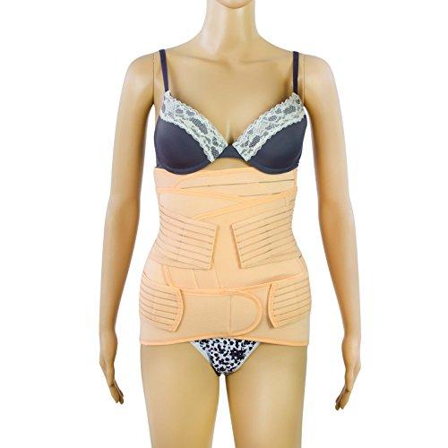 Grinscard Postnatal Bauchgurt 3 in 1 Set für einen flachen Bauch nach der Geburt - Atmungsaktiv - Größe M - Abdominal Elastische Bauchbandagen