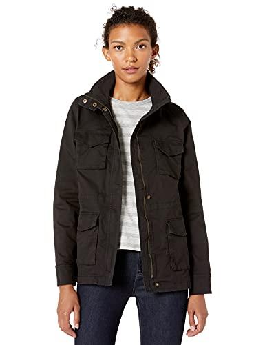 Amazon Essentials Women's Zip Up Utility Jacket, Black, M