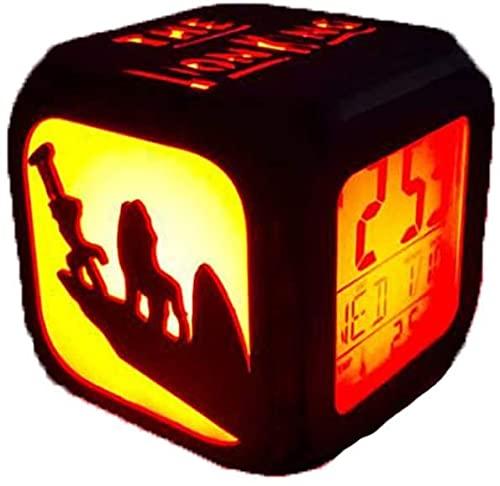 YAOJIA Despertador Digital Infantil Bosque Lion King Reloj Despertador 3D Estéreo Silencioso DIRIGIÓ Luz De Noche 7 Cambios En El Color, Pantalla Electrónica Digital Alarm Reloj USB Cargadura