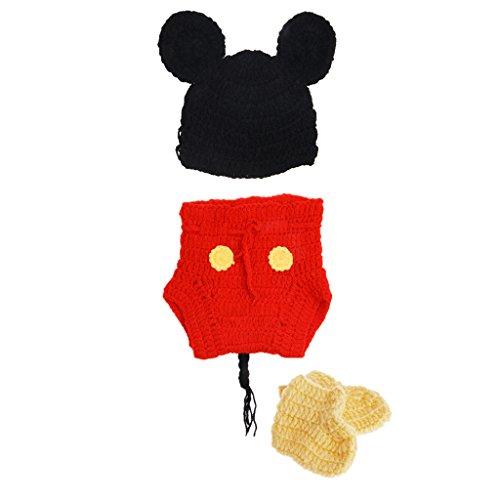 Xiuinserty Accesorios de fotografía para recién nacido, disfraz de ganchillo para niñas y niños, traje de utilería para fotografía, 3 piezas/juego