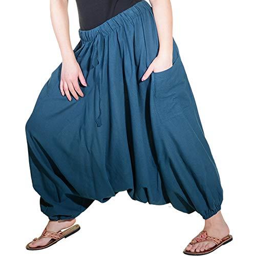 KUNST UND MAGIE Orientalische Haremshose one Size in vielen Farben, Farbe:Petrol