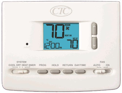 CTC 62152P Wall Thermostat, Up to 2 Heat/1 Cool Conventional or Heat Pump System, 5/2 Day Programmable, 1.5 Square Inch Display