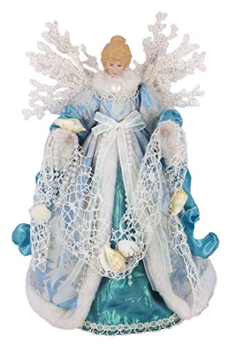 Windy Hill Collection 14' Inch Standing Aqua Angel Christmas Tree Topper or Table Top 148510