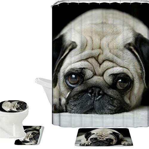 Dellukee Bathroom Shower Curtain and Rugs Set Cute Chic Grey Pug Home Decorative Washable Shower Curtains Non Slip Shower U Shaped Toilet Floor Bath Rugs Cover Pads Doormats 4 Pcs