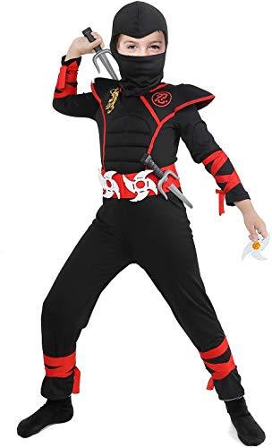Tacobear Disfraz de Power Ninja para Niño Disfraz Infantil de Halloween Negro y Rojo 3-12 años (M (5-7 años))