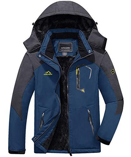 KEFITEVD Snowboardjacke Herren Warm Gefüttert Ski Jacke Wasserdicht Softshell Jacke mit Kapuze Skijacke Herren Dicke Winterjacke Parka Jacke Jagdjacke Dunkelblau 2XL