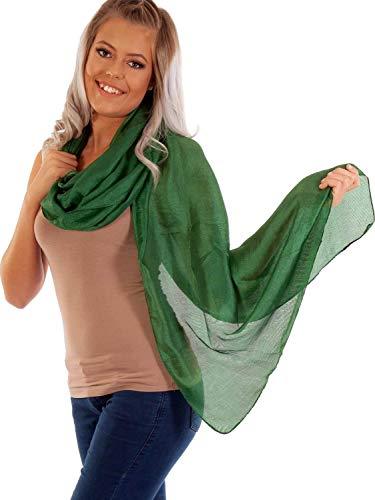 DOLCE ABBRACCIO by RiemTEX ® Schal Damen PRIMA DONNA Stola Tuch aus Wildseide in sattem Grün Tücher in 31 Unifarben Halstücher Seidentuch Schals Damen Halstuch Seidenschal (Smaragd)