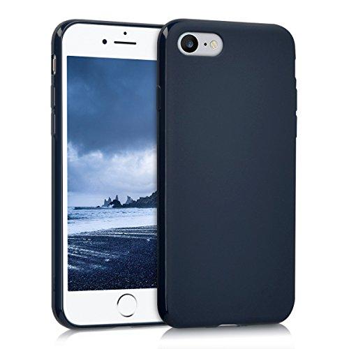 kwmobile Funda Compatible con Apple iPhone 7/8 / SE (2020) - Carcasa de TPU Silicona - Protector Trasero en Azul Oscuro Mate