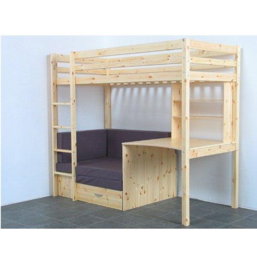 Dynamic24 Thuka Hochbett 90x200 Kiefer massiv Bett Kinderbett Gästebett Schreibtisch