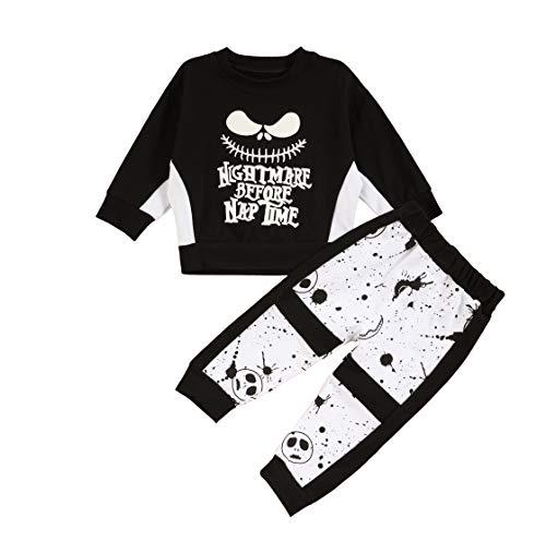 Conjunto de Ropa para niños pequeños, bebés, niños, Pesadilla, Camisetas de Rayas de Manga Larga y Pantalones de Calavera, Conjunto de Ropa para niños pequeños, 2 Piezas