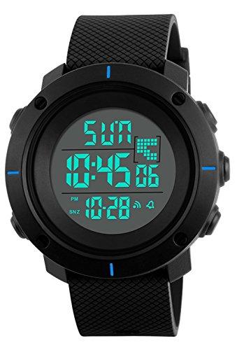 RSVOM Kinder und Jugendliche Digital Quarz Uhren mit Schwarz Plastic Armband 5 Bar Wasserdicht LED mit Wecker Chronograph Countdown