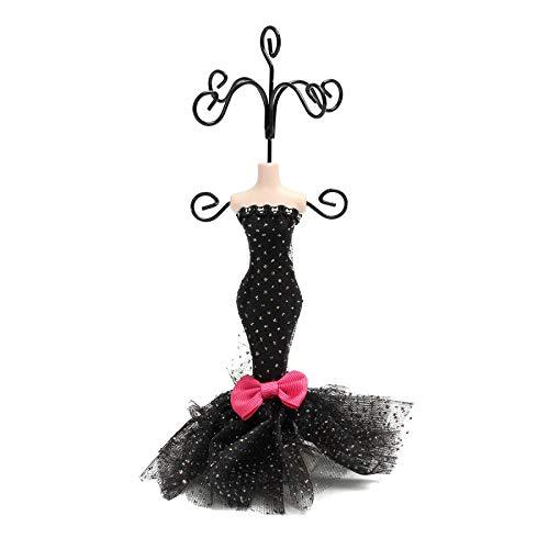 Cajas de joyería para mujer, caja de joyería, organizador, regalo, caja de exposición, maniquí negro, pendientes de princesa de 18 cm