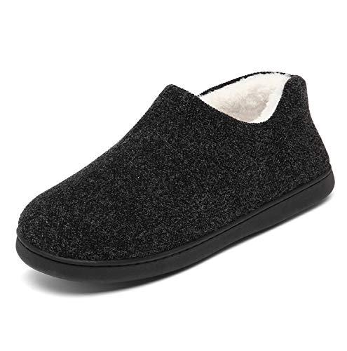 Mishansha Hombre Zapatillas Andar por Casa Al Aire Libre Zapatillas de Felpa Comodos Zapatillas para Andar Antideslizantes Pantuflas, Negro 43