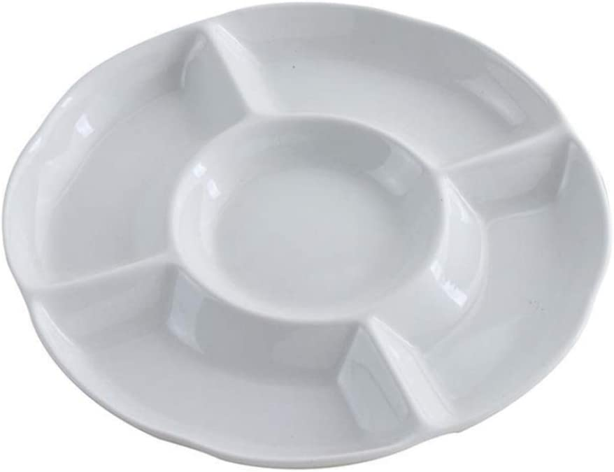 Cabilock 9 Inch White Plastic Divided Appetizer Serving Tray 5- Section Candy Snack Salad Desserts Dried Fruit Nuts Plate for Home Office Party : Home & Kitchen