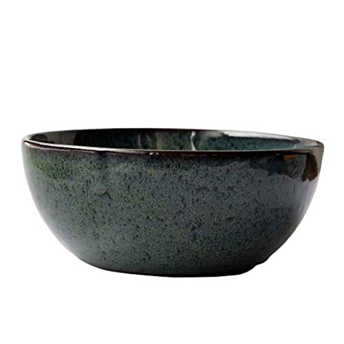 ZLJ 9.0 inch Large Ceramic Bowl Nordic Cutlery for Restaurant Kitchen Bowl for Mixing The Surface of Ramen Fruit Dessert (Dark Green)